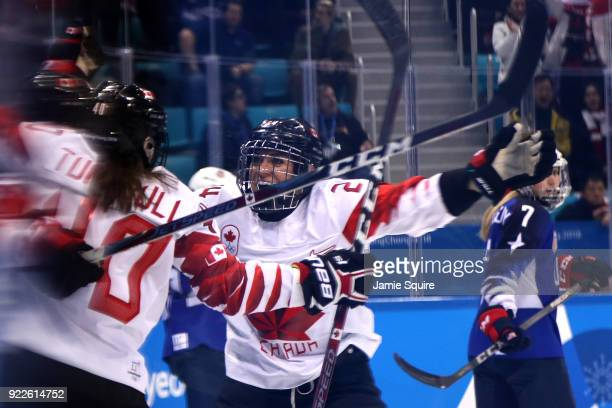 Natalie Spooner of Canada celebrates after a second period goal by Haley Irwin against the United States during the Women's Gold Medal Game on day...