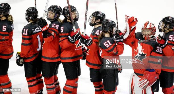 Natalie Spooner of team Canada along with teammates Lauriane Rougeau Jill Saulnier Rebecca Johnston Blayre Turnbull Victoria Bach Emerance Maschmeyer...
