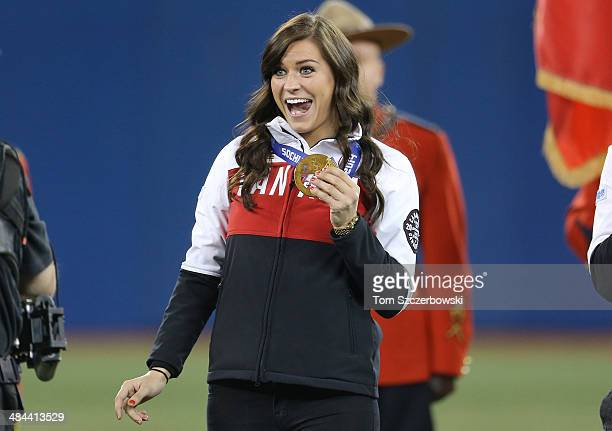 Natalie Spooner who won gold in women's hockey at the Winter Olympic Games in Sochi is introduced before the Toronto Blue Jays MLB game against the...