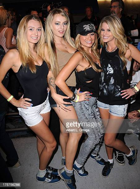 Natalie Starr, Natasha Starr, Lisa Daniels and Jessa Rhodes participate in Porn Star Bowling for the Free Speech Coalition held at Corbin Bowl on...