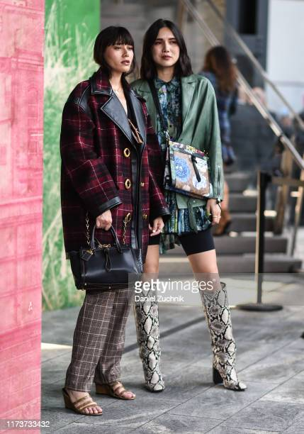 Natalie Suarez and Dylana Suarez are seen wearing Coach outfits outside the Coach show during New York Fashion Week S/S20 on September 10 2019 in New...