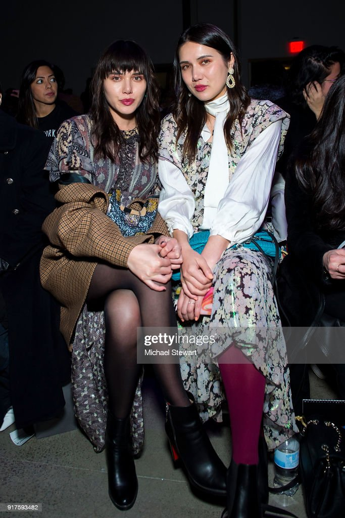 Natalie Suarez (L) and Dylana Suarez attend the Ann Sui fashion show during New York Fashion Week at Gallery I at Spring Studios on February 12, 2018 in New York City.