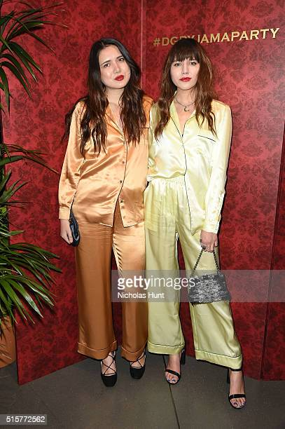 Natalie Suarez and Dylana Suarez attend the Dolce Gabbana pyjama party at 5th Avenue Boutique on March 15 2016 in New York City