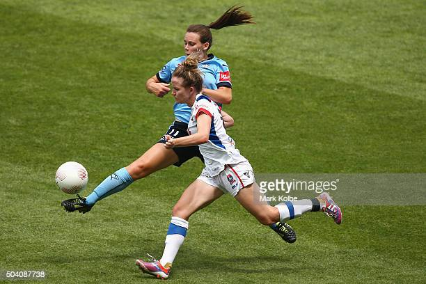 Natalie Tobin of Sydney FC and Rhali Dobson of the Jets compete for the ball during the round 13 WLeague match between Sydney FC and the Newcastle...