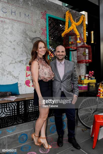 Natalie Tricarico and George Calombaris arrives ahead of the official launch of David Thompson's Long Chim Melbourne at Crown Riverwalk on February 9...