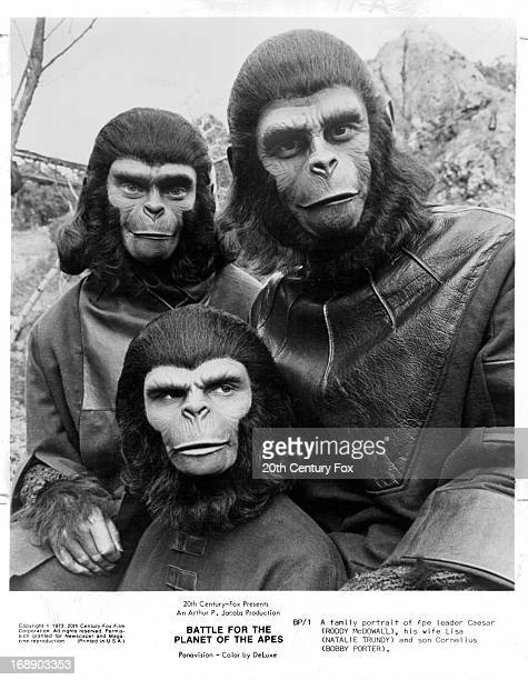 Natalie Trundy and Roddy McDowall with their on screen son played by Bobby Porter on set of the film 'Battle For The Planet Of The Apes' 1973