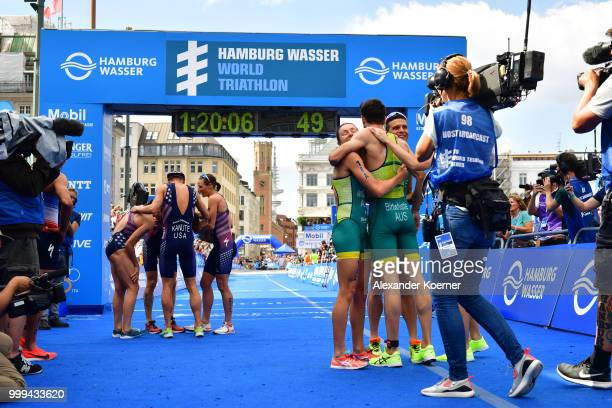Natalie Van Coevorden of Australia Aaron Royle of Astralia Ashleigh Gentle of Australia and Jacob Birthwistle of Australia finished second in the ITU...
