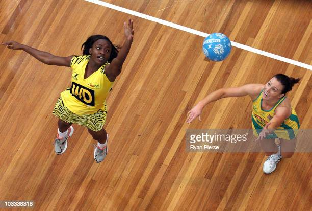 Natalie von Bertouch of the Diamonds competes for the ball against Sateva Taylor of Sunshine Girls during game two of the Holden Netball Test series...