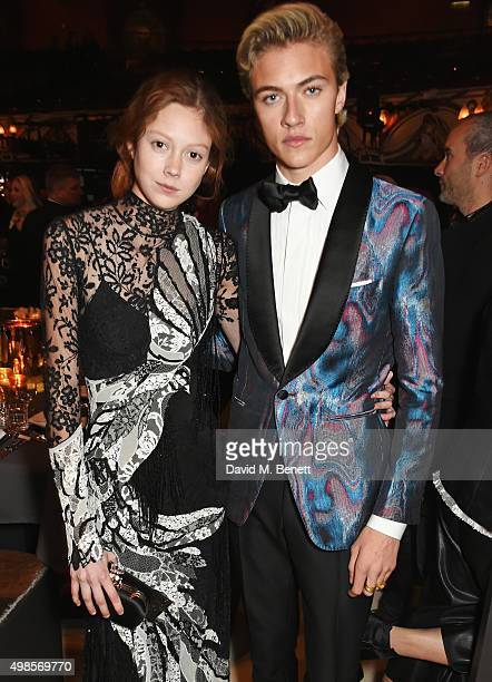 Natalie Westling and Lucky Blue Smith attends a drinks reception at the British Fashion Awards in partnership with Swarovski at the London Coliseum...