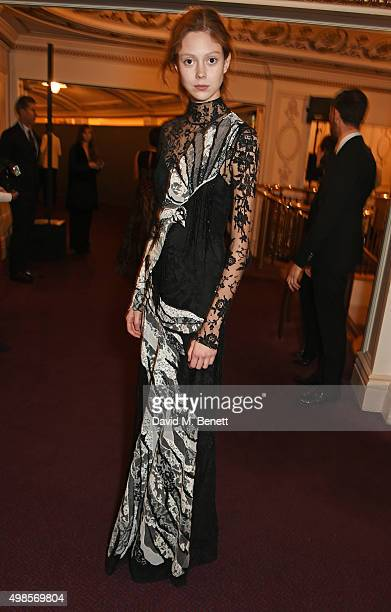 Natalie Westling attends a drinks reception at the British Fashion Awards in partnership with Swarovski at the London Coliseum on November 23 2015 in...