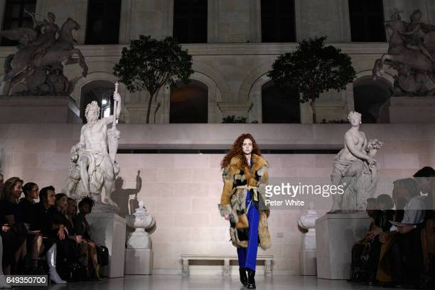 Natalie Westling general view walks the runway during the Louis Vuitton show as part of the Paris Fashion Week Womenswear Fall/Winter 2017/2018 on...