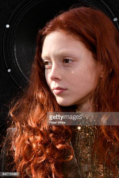 Natalie Westling poses at the end of the Marc Jacobs Runway Show at Park Avenue Armory on February 16 2017 in New York City