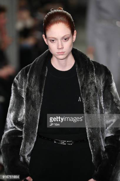 Natalie Westling walks the runway at Alexander Wang during New York Fashion Week at 4 Times Square on February 10 2018 in New York City