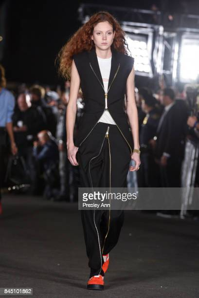 Natalie Westling walks the runway at Alexander Wang fashion show during New York Fashion Week on September 9 2017 in the Brooklyn borough of New York...