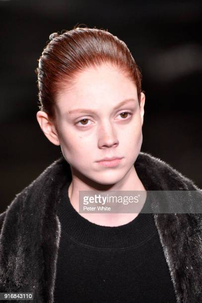 Natalie Westling walks the runway at Alexander Wang Fashion Show during New York Fashion Week at 4 Times Square on February 10 2018 in New York City