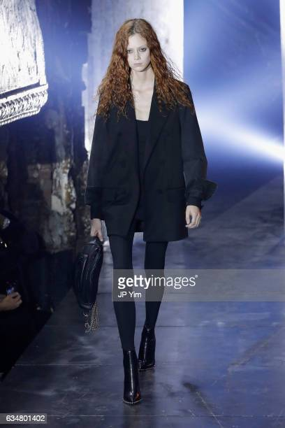 Natalie Westling walks the runway at the Alexander Wang February 2017 fashion show during New York Fashion Week on February 11 2017 in New York City