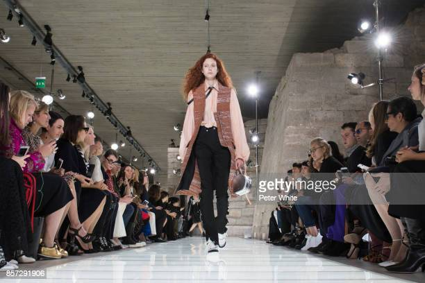 Natalie Westling walks the runway during the Louis Vuitton Paris show as part of the Paris Fashion Week Womenswear Spring/Summer 2018 on October 3...