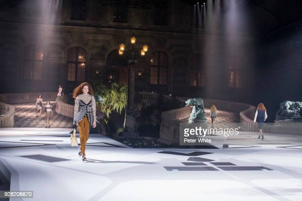 Natalie Westling walks the runway during the Louis Vuitton show as part of the Paris Fashion Week Womenswear Fall/Winter 2018/2019 on March 6 2018 in...
