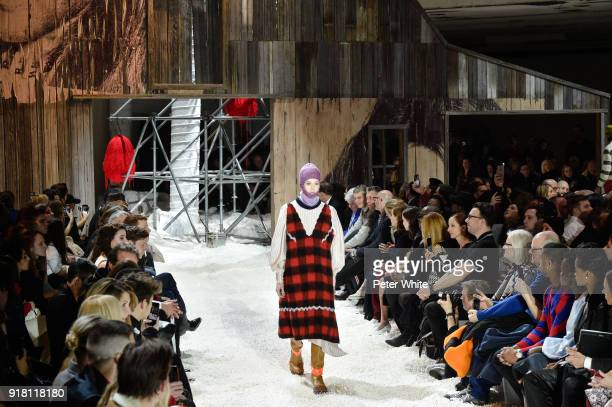 Natalie Westling walks the runway for Calvin Klein Collection during New York Fashion Week on February 13 2018 in New York City