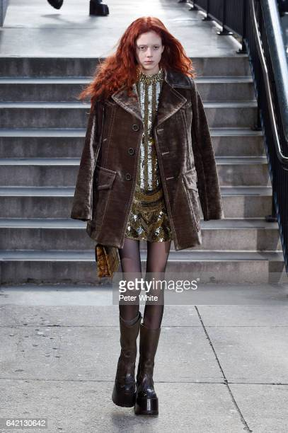 Natalie Westling walks the runway for the Marc Jacobs Fall 2017 Show at Park Avenue Armory on February 16 2017 in New York City