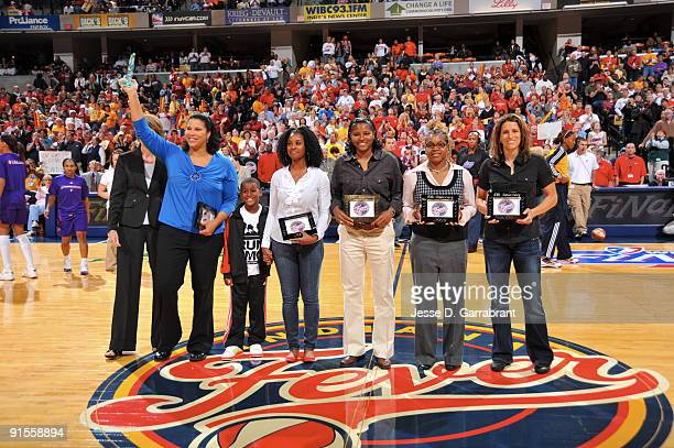 Natalie Williams Niele Ivey Monica Maxwell Coquese Washington and Stephanie White Legends of the Indiana Fever is acknowledged prior to Game Four of...