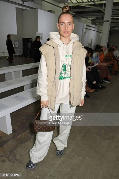 Natalie Winter attends the Mimi Wade show during London Fashion Week February 2020 at The Old Truman Brewery on February 15 2020 in London England