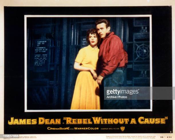 Natalie Wood and James Dean in movie art for the film 'Rebel Without A Cause' 1955