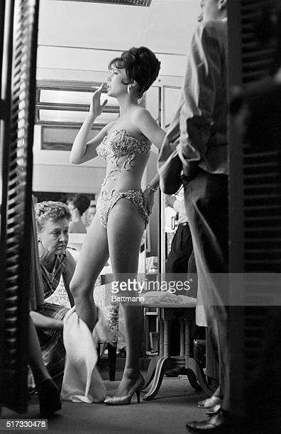 """Natalie Wood in costume, in her dressing room after shooting a scene in Gypsy, the musical of the life of stripper Louise """"Gypsy Rose Lee"""" Hovick ."""