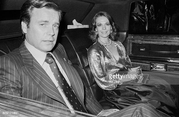 Natalie Wood Robert Wagner in limousine at the Pierre Hotel circa 1970 New York