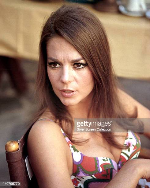 Natalie Wood US actress wearing a thin strap print pattern top circa 1970