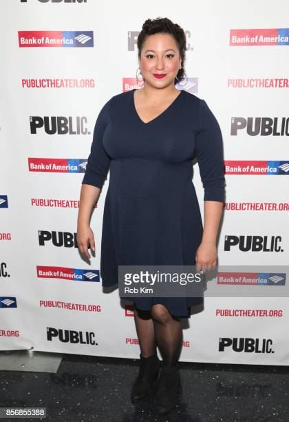 """Natalie Woolams-Torres attends the opening night celebration of """"Tiny Beautiful Things"""" at The Public Theater on October 2, 2017 in New York City."""