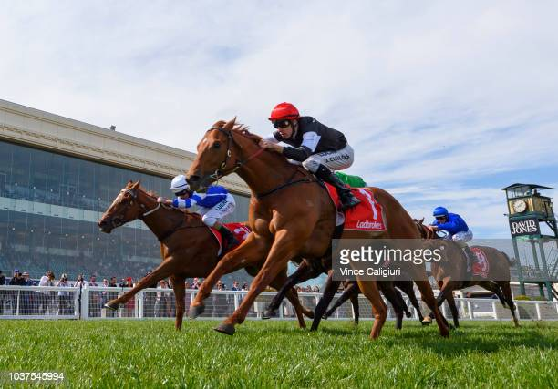 Natalie Young after Rising Red finished 2nd in Race 7 East Malvern Bendigo Bank MRC Foundation Cup during Melbourne Racing at Caulfield Racecourse on...