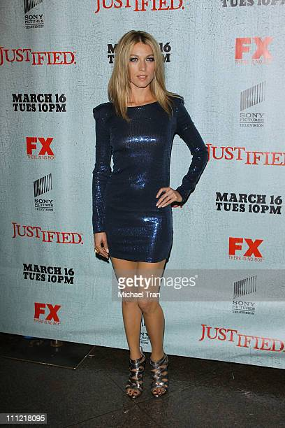 Natalie Zea arrives at the Los Angeles premiere screening of FX's Justified held at Directors Guild Theatre on March 8 2010 in West Hollywood...