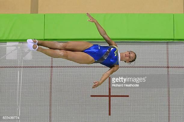 Nataliia Moskvina of Ukraine competes during the Trampoline Gymnastics Qualification at the Rio Olympic Arena on April 19 2016 in Rio de Janeiro...