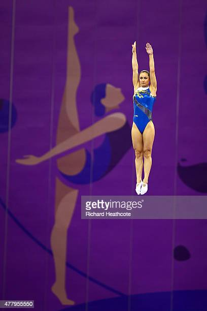 Nataliia Moskvina of Ukraine competes during the Women's Gymnastics Trampoline Individual final on day nine of the Baku 2015 European Games at the...
