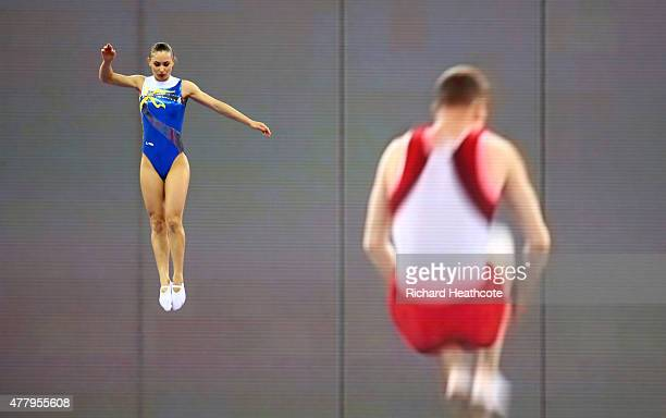 Nataliia Moskvina warms up prior to the Women's Gymnastics Trampoline Individual final on day nine of the Baku 2015 European Games at the National...