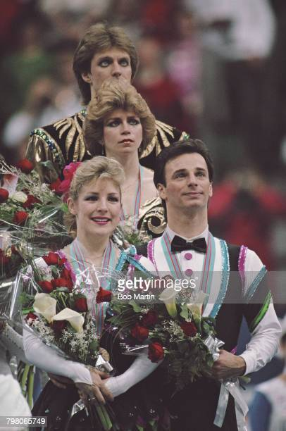 Nataliya Bestemyanova and Andrey Bukin of the Soviet Union take the top step of the podium to celebrate their gold medals in the Mixed Ice Dance...