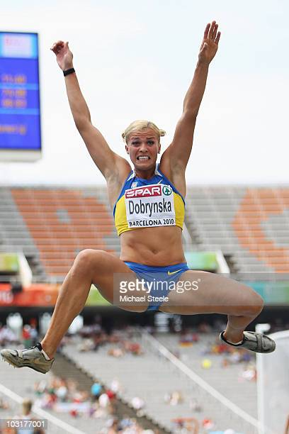 Nataliya Dobrynska of Ukraine competes in the Womens Heptathlon Long Jump during day five of the 20th European Athletics Championships at the Olympic...