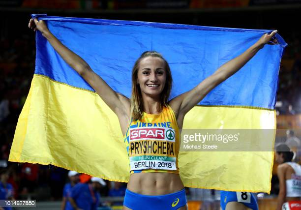 Nataliya Pryshchepa of Ukraine celebrates winning Gold in the Women's 800m Final during day four of the 24th European Athletics Championships at...