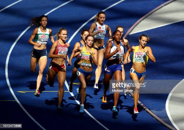 Nataliya Pryshchepa of Ukraine, Shelayna Oskan-Clarke of Great Britain, and Lovisa Lindh of Sweden lead the field as they compete in Women's 800m...