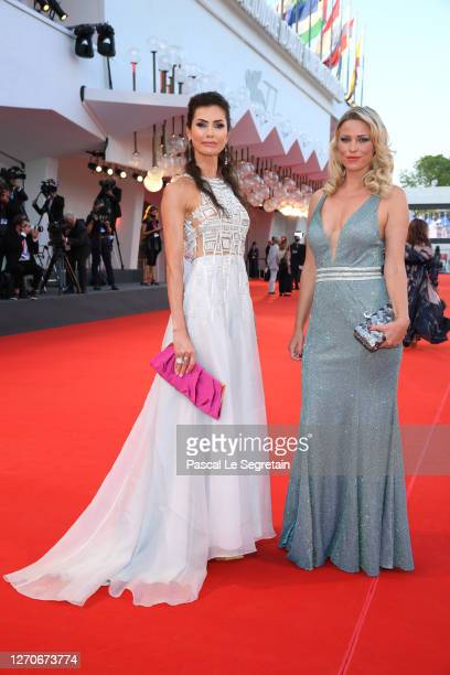 """Nataliya Resh and Kiera Chaplin walk the red carpet ahead of the movie """"Padrenostro"""" at the 77th Venice Film Festival at on September 04, 2020 in..."""