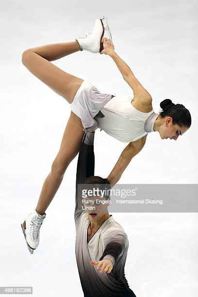 Natalja Zabijako and Alexander Enbert of Russia skate during the Pairs Free Skating on day two of the Rostelecom Cup ISU Grand Prix of Figure Skating...