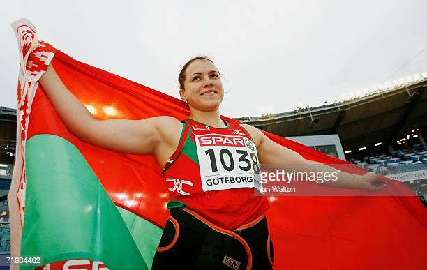 Natallia Khoroneko of Belarus celebrates winning gold during the Women's Shot Put Final on day six of the 19th European Athletics Championships at...
