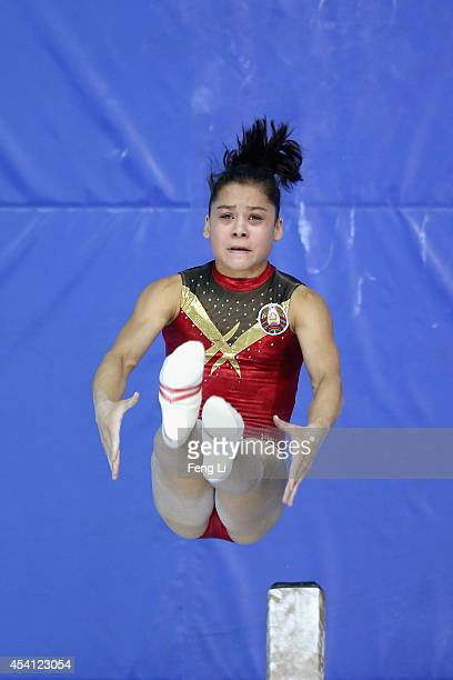 Natallia Yakubava of Belarus competes in the Women's Balance Beam Final on day eight of the Nanjing 2014 Summer Youth Olympic Games at Nanjing OSC...