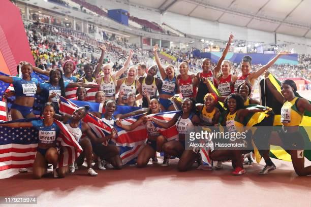 Natalliah Whyte, Shelly-Ann Fraser-Pryce, Jonielle Smith and Shericka Jackson of Jamaica, gold, Asha Philip, Dina Asher-Smith, Ashleigh Nelson and...