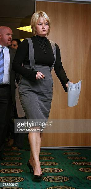 Natallie Evans walks into a press conference after learning that she will not be able to use her former partner's fertalised embryo on April 10 2007...
