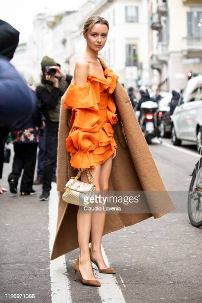 Nataly Osmann attends the Ermanno Scervino show at Milan Fashion Week Autumn/Winter 2019/20 on February 23 2019 in Milan Italy