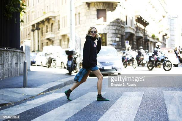 Nataly Osmann is seen during Milan Fashion Week Spring/Summer 2018 on September 20 2017 in Milan Italy