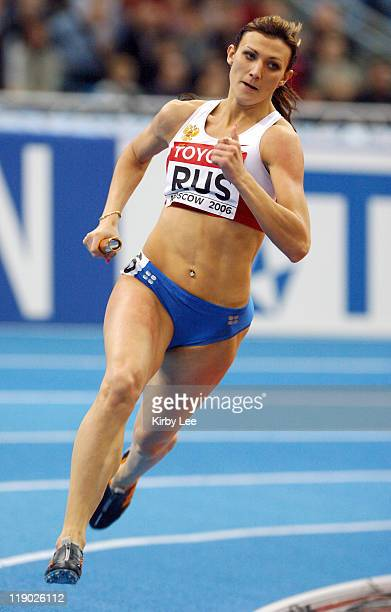 Natalya Antukhy runs the anchor leg on Russia's victorious 4 x 400meter relay that timed 32491 in the IAAF World Indoor Championships in Athletics at...