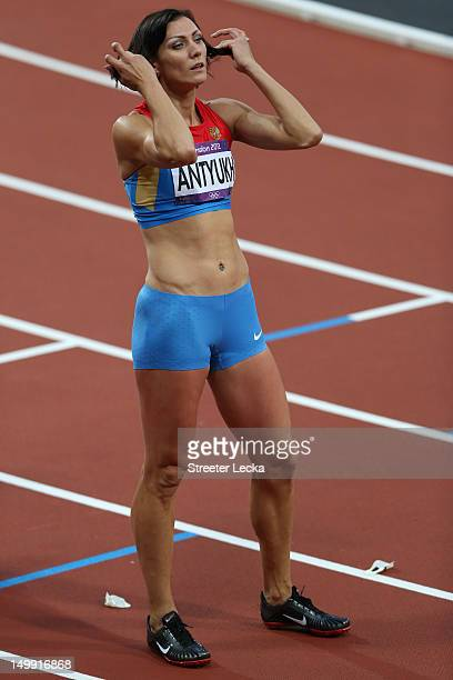 Natalya Antyukh of Russia competes in the Men's 400m Hurdles Final on Day 10 of the London 2012 Olympic Games at the Olympic Stadium on August 6 2012...